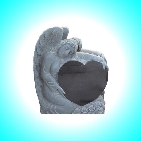 Lapide a forma d'angelo con cuore 2
